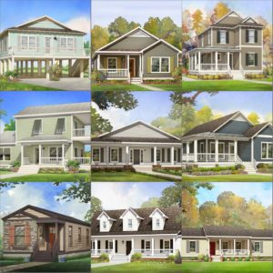 modular home rendering collage