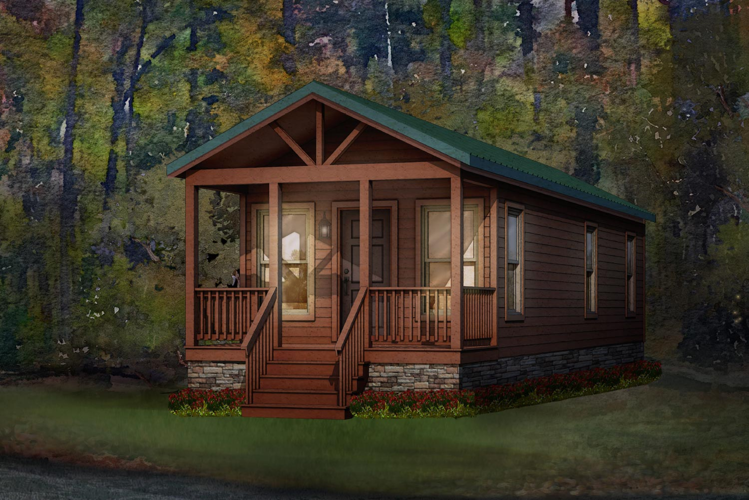 pine cone modular home rendering