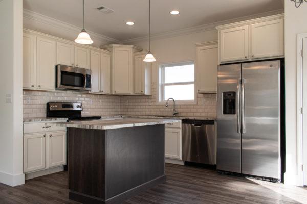 modular home kitchen with quartz countertop